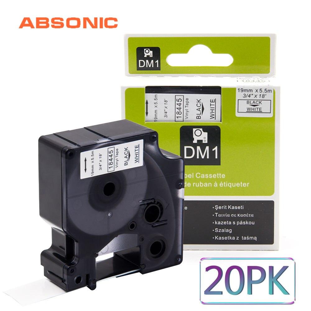 Absonic 20 pièces 19mm IND vinyle DYMO Rhino 18445 noir sur blanc bande d'étiquetage cartouche industrielle pour Rhino 4200 5200 6000 imprimante