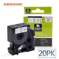 Absonic 20PCS 19mm IND Vinyl DYMO Rhino 18445 Black on White Labeling Tape Industrial Cartridge For Rhino 4200 5200 6000 Printer