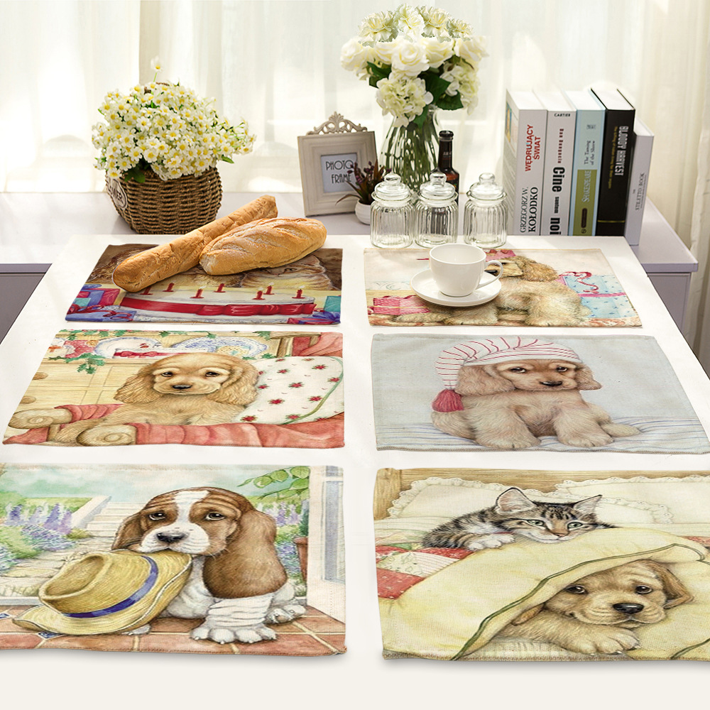 CAMMITEVER Lovely Dog Dinner Mats Dish Drying Mat, Pot Holder, Heat Insulated Pad Mat, Antimicrobial, Non-Slip, Tableware
