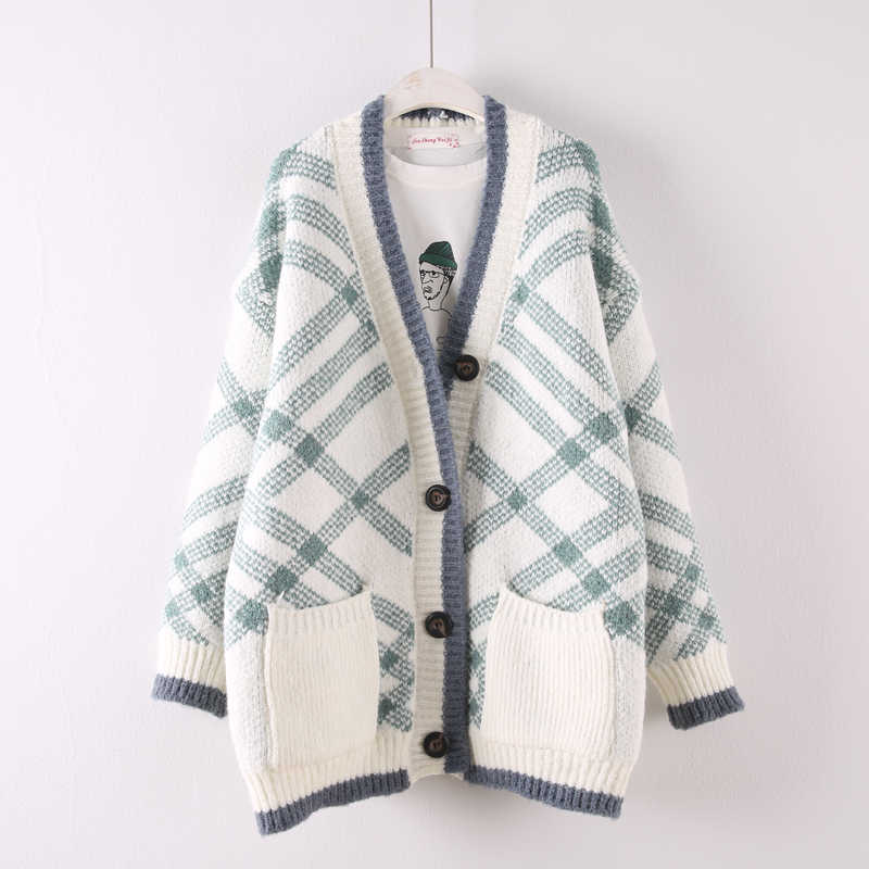 d705824168285f 2018 autumn winter new women plaid sweater cardigans lady long thicken  knitted warm outwear coat tops