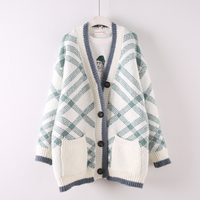 2018 autumn winter new women plaid sweater cardigans lady long thicken knitted warm outwear coat tops