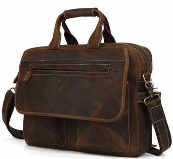 men's Fashion Designer Handbags High Quality Leather Brown Leather Briefcase Portfolio Men 15.6″ laptop Office   Messenger Bags Men's Backpacks