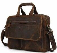 men's Fashion Designer Handbags High Quality Leather Brown Leather Briefcase Portfolio Men 15.6 laptop Office Messenger Bags