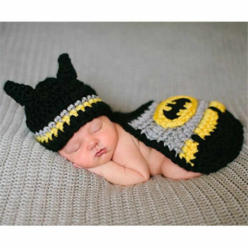 Hot Sale Photography Props newborn baby Knitted Costume Crochet Newborn Batman photo prop , super hero Hat cape Set Cartoon Hats