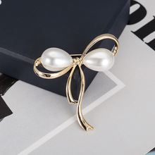 Pearl Bow Brooch Men And Women Rhinestone Fashion Exquisite Jewelry Ladies Elegant New Design Needle Wear High Temperament Gift