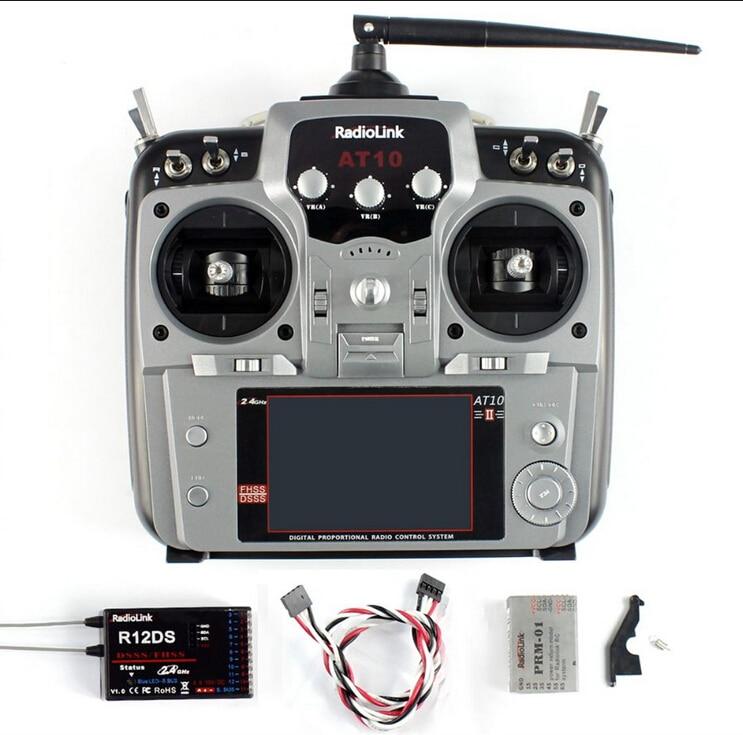 Oyuncaklar ve Hobi Ürünleri'ten Parçalar ve Aksesuarlar'de Radyolink AT10 II 2.4 Ghz 10CH RC Verici ile R10DII Alıcı PRM 01 Voltaj Dönüş Modülü Pil RC dört pervaneli helikopter'da  Grup 2
