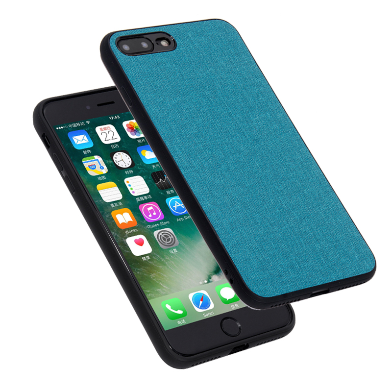 For iPhone 7 8 Plus Case Fabric Phone Case PU Canvas Business Cover For iPhone X 6 6s+ Hard Soft TPU Silicone Combo Coque (L0525