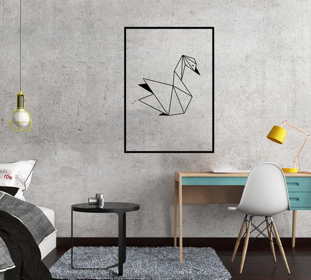 Nordic Geometric SWAN Wall Sticker Wall Decal wallstickers house Decor For Baby Kids Room Decoration Wallpaper Home Mural in Wall Stickers from Home Garden