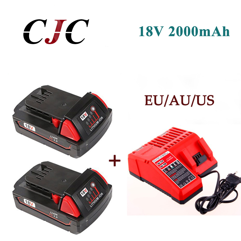 2x High Quality 18V Li-Ion 2000mAh Replacement Power Tool Battery for Milwaukee M18 XC 48-11-1815 M18B2 M18B4 M18BX Li18+charger