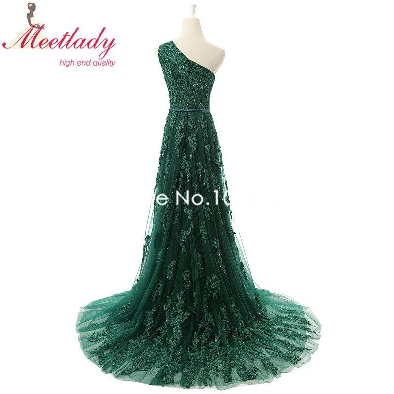 Real Samples Elegant A line One shoulder Emerald Evening Dress Long ...