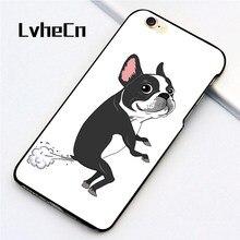 9359638c461 Lvhecn 5 5S se teléfono cubierta casos para iPhone 6 6 S 7 8 más x piel  Shell Funny Boston terrier nueva historieta