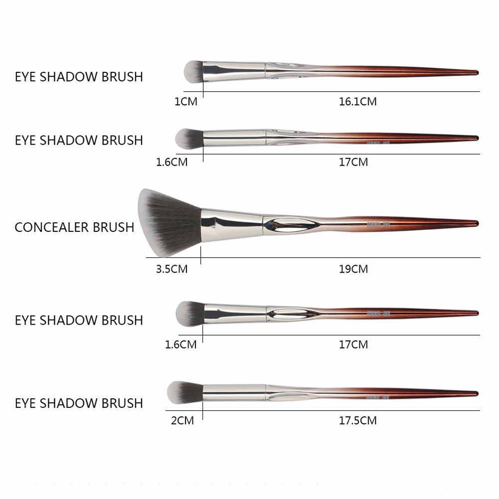 New 10Pcs Eyeshadow Contour Foundation Blending Makeup Brushes Set + Storage Pouch