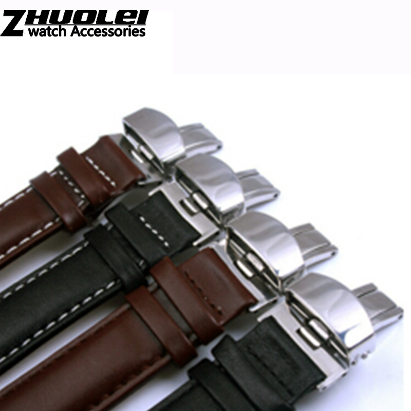 Plain genuine leather watchband steel butterfly buckle band black brown 18 19 20 21 22 24mm male Cowhide leather watch straps все цены