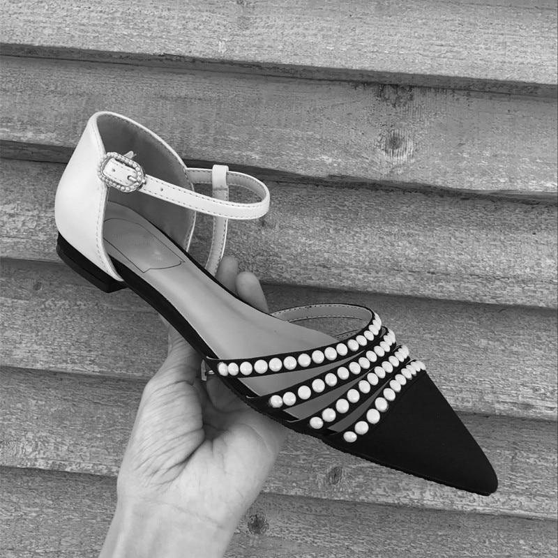 Spring Scarpe Caviglia Designer Appartamenti Estate Cinturino S Alla Pista as Dolce Pics Donna Perle Sandali 2018 Hot Di A Punta As Pics wZTOXiPkul