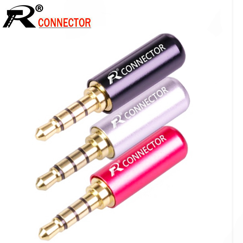 10pcs/lot Mini Jack 3.5mm 4 Poles Male Plug Aluminum Shell Stereo 4Pin 3.5mm Wire Connector Heaphone Plug Earphone Jack Repair