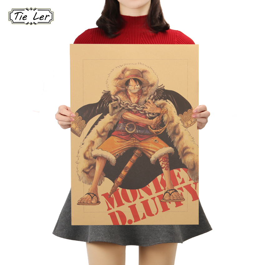 TIE LER One Piece Posters Luffy Decorative Paintings Home Decor Wall Stickers Vintage Kraft Paper Anime Poster
