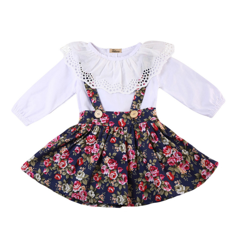 Toddler Baby Girls Kids Floral Ruffles Blouse Bib Dress 2Pcs Clothes Set Long Sleeve Cotton Princess Party Pageant Dresses 1-6Y