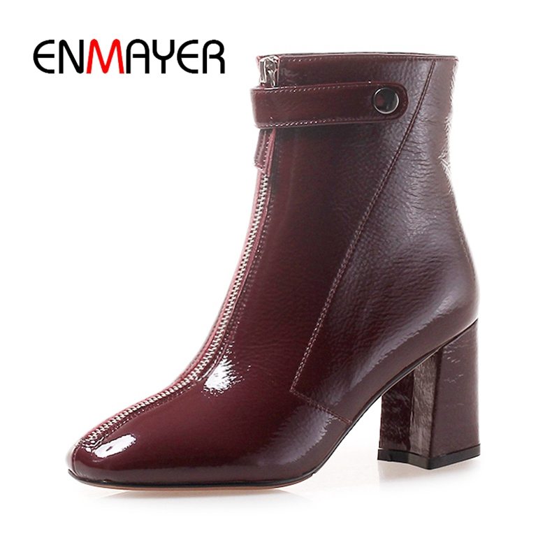 ENMAYER  Genuine Leather  Basic  Zip  Square Toe  Women Boots  Zapatos De Mujer  Women Winter Shoes Size 34-39 ZYL1820ENMAYER  Genuine Leather  Basic  Zip  Square Toe  Women Boots  Zapatos De Mujer  Women Winter Shoes Size 34-39 ZYL1820