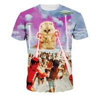Chaude 2016 Populaire Hommes T-shirt Drôle de Chat HD 3d Impression t-shirt Hommes/Femmes D'été Sexy t-shirt Tops Casual Tee Shirts