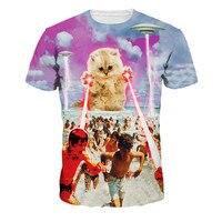 Hot 2016 dos homens Populares T-shirt Gato Engraçado HD Impressão 3d t camisa Homens/Mulheres Verão Sexy camisetas Tops T Camisas casuais