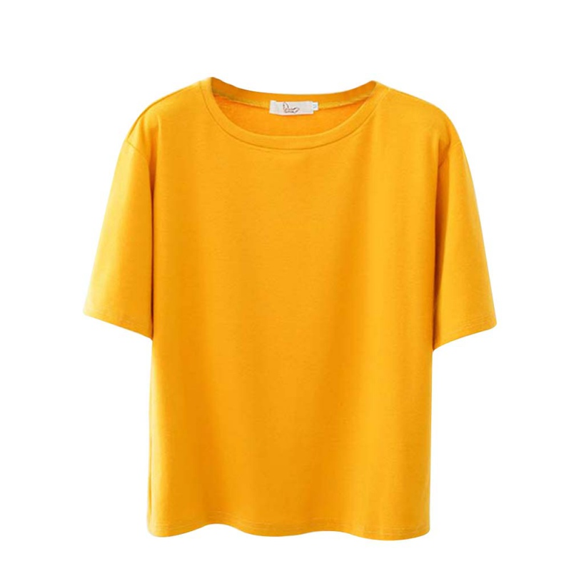 12f759198568 Solid Color M-XXL Plain T Shirt Women Cotton Elastic Basic T-shirts Female