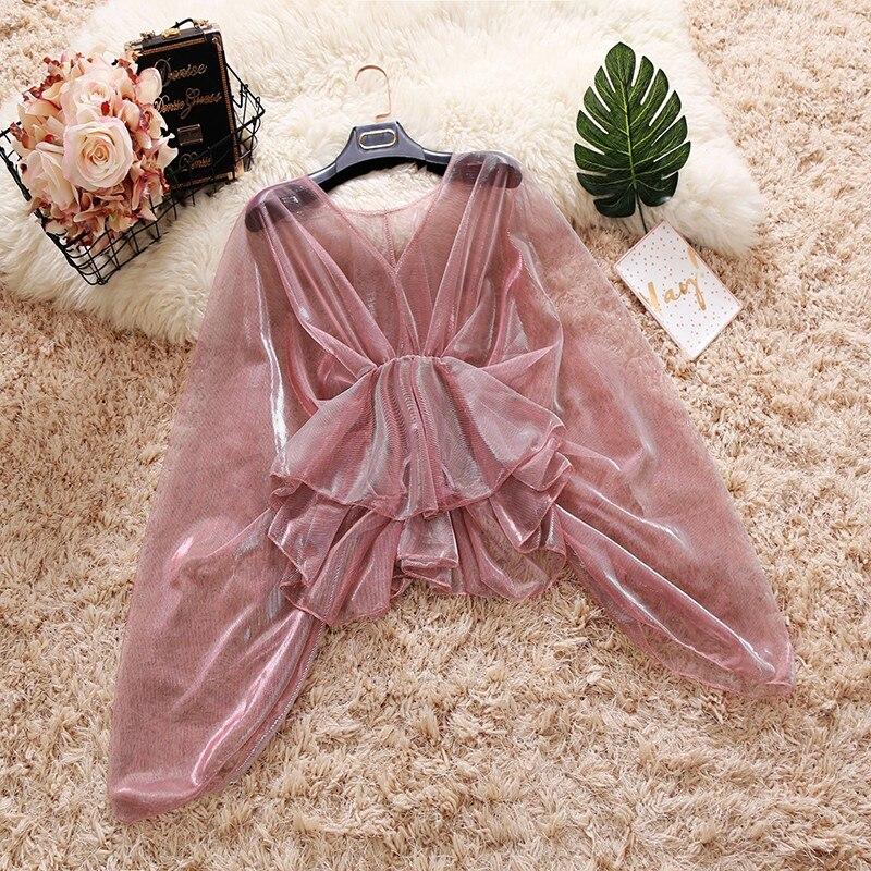 HISUMA Autumn New Female V-neck Ruffles Mesh Shirt Women's Bat Sleeve Waist Sweet Flounced Sun Protection Shirts Women Blouses