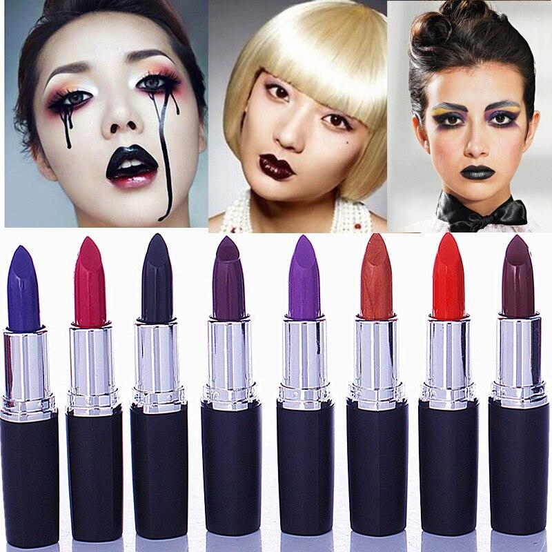 ange aile 8 cores conjunto veneno do vintage halloween maquiagem vampiro cor escura batom roxo matte