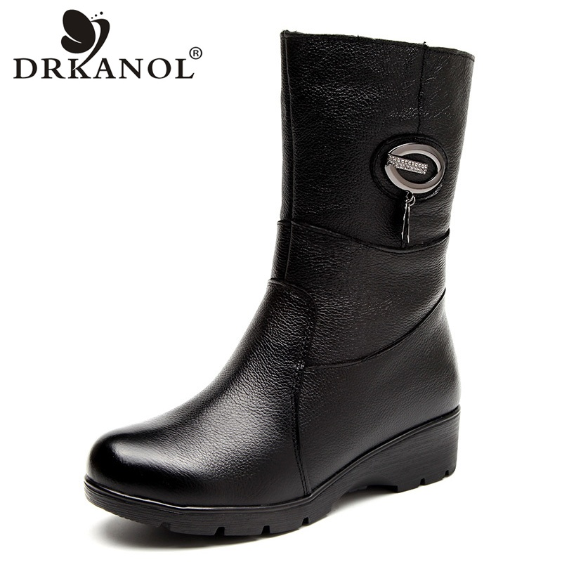 DRKANOL Fashion Crystal Wedges Women Boots Genuine Leather Mid Calf Plush Winter Warm Snow Boots Women Cotton Boots Female Shoes
