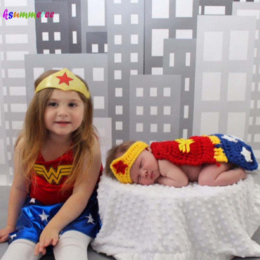 New Superhero Baby Crochet Wonder Woman Costume Newborn Knitted Comics Photography Prop Cape Crown and Wristlets Outfit