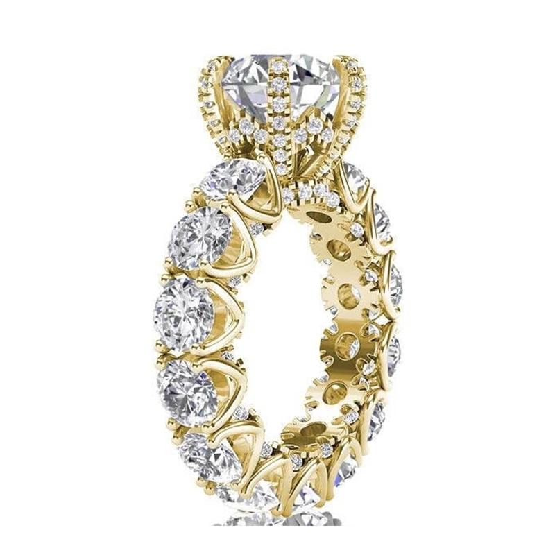 LESF bijoux de luxe bague femmes 4 carats taille ronde Premium Zircon 925 en argent Sterling mode bague de fiançailles bienvenue personnalisé - 3