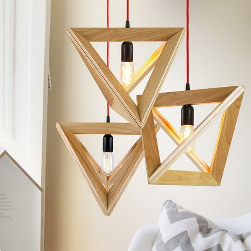 Nordic Triangle Wood Personality Creative Restaurant Pendant Light Fashion Bar Coffee Shop Decoration Light Free Shipping european creative sheep goat side table nordic style log home furnishing decoration hotel restaurant bar decor free shipping