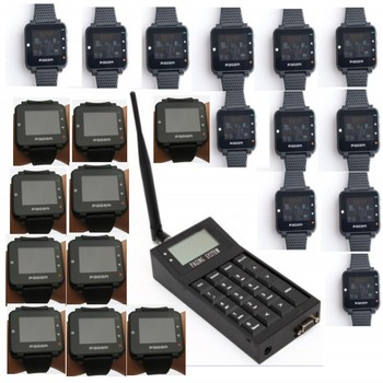 Pocsag paging system, 1pc can link to computer wireless calling system transmitter, 20pcs Pocsag watch pager, text messa
