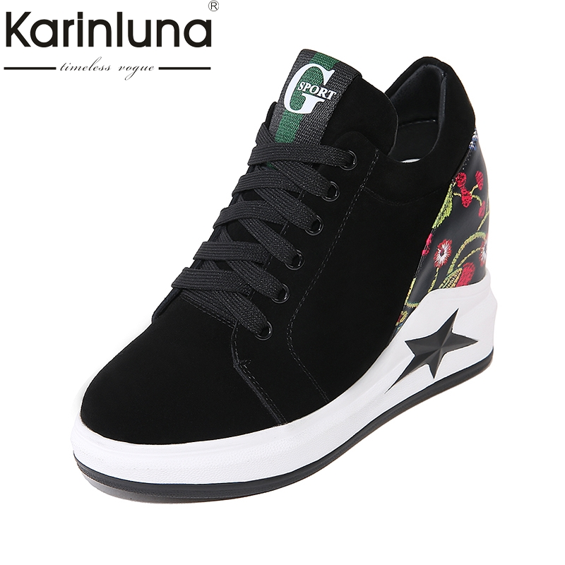 KARINLUNA Cow Suede 2018 Large Size 32-42 Wedge High Heels Lace Up Black Shoes Women Shoes Round Toe Platform Woman Pumps big size high heels round toe women platform shoes cool casual white lace wedge black creepers medium pumps mesh chinese fashion