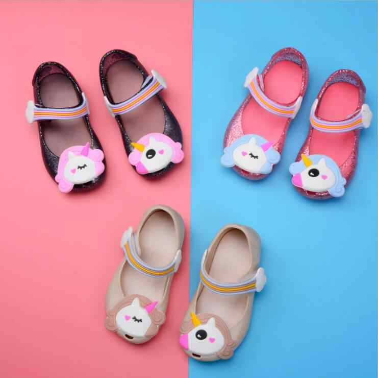2018 Kids jelly sandals baby Rainbow unicorn children girls princess shoes  cute cartoon transparent bling soft 66c91fb3f5ae