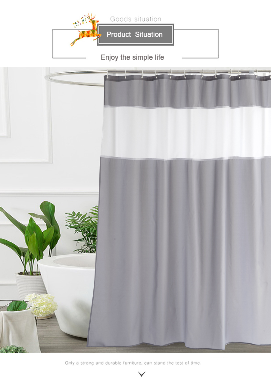 Ufriday Gray And White Fabric Shower Curtain For Bathroom With Window Translucent White Gauze Modern See Through Bath Curtain
