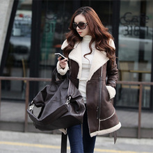 2016 New Winter Jacket Women Lamb Wool Lapel Medium long Suede Fabric Wadded Belt Slim Parka