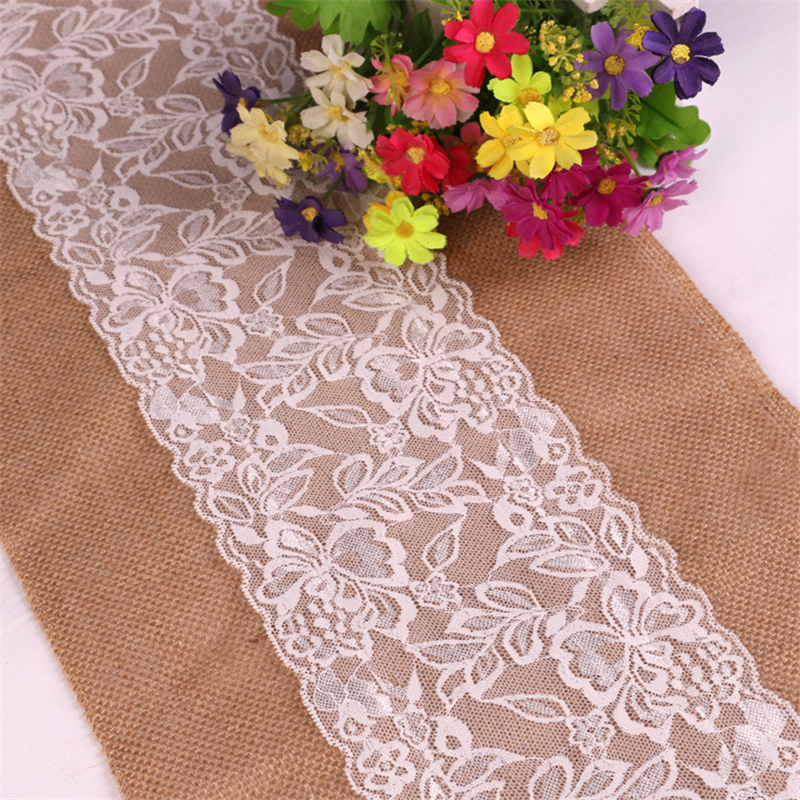 Jute Linen Hessian Burlap Table Runner Country Event Party Wedding Table Decor