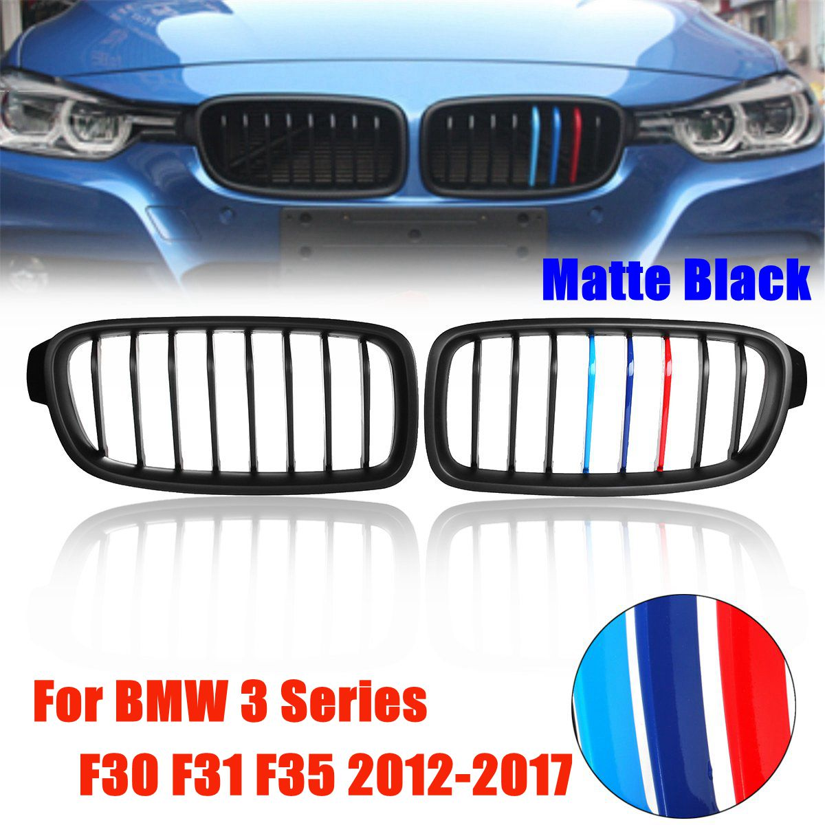 1 paire 3 couleurs pour BMW série 3 F30 F31 F35 2012-2017 pour gril de course de remplacement mat noir MColor rein Grille de calandre avant