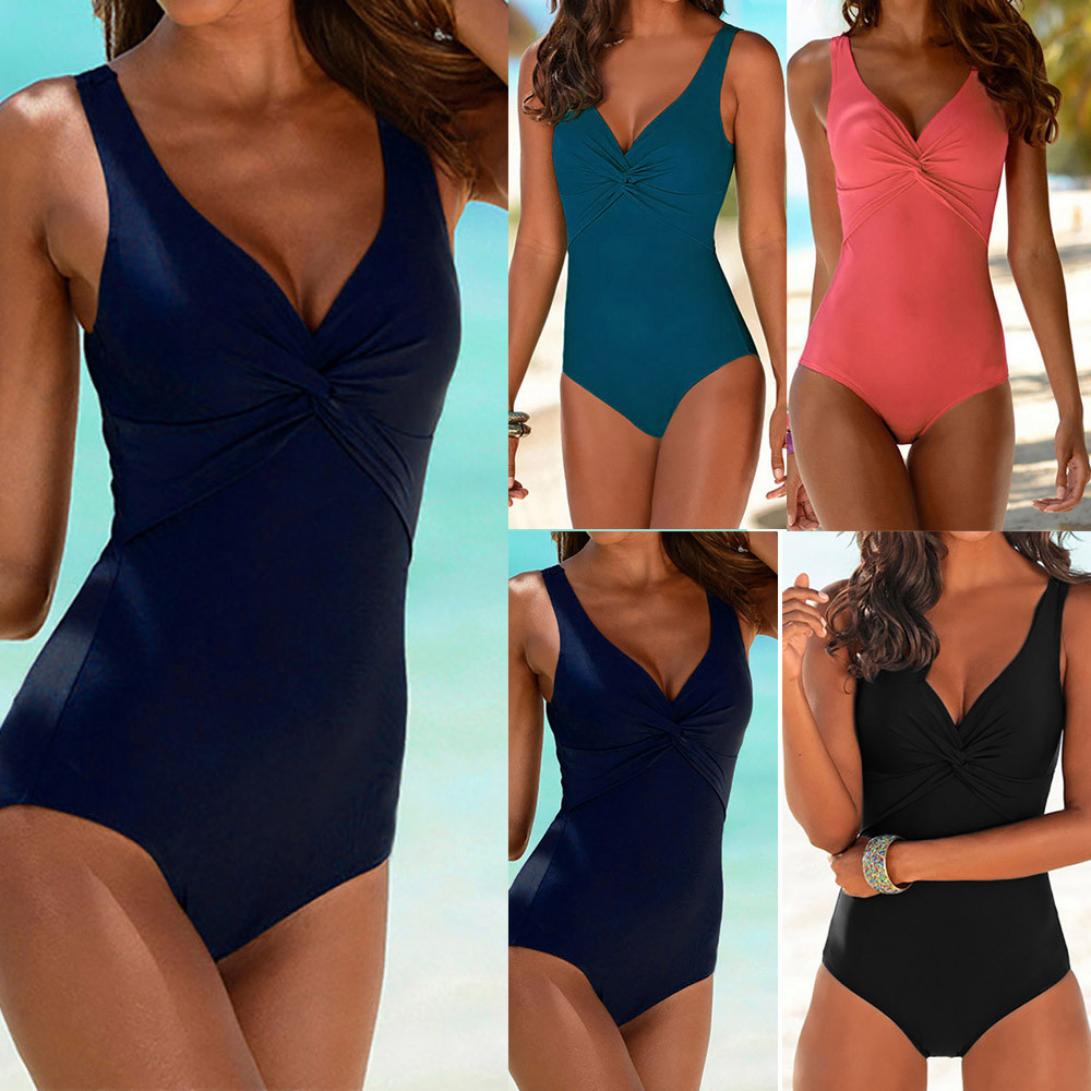Sports & Entertainment Brilliant Womail 2018 Womens Solid Color Swimwear One Piece Swimsuit Knot Design Bikini Push Up Padded Swiming Suit Maio Praia #hf41