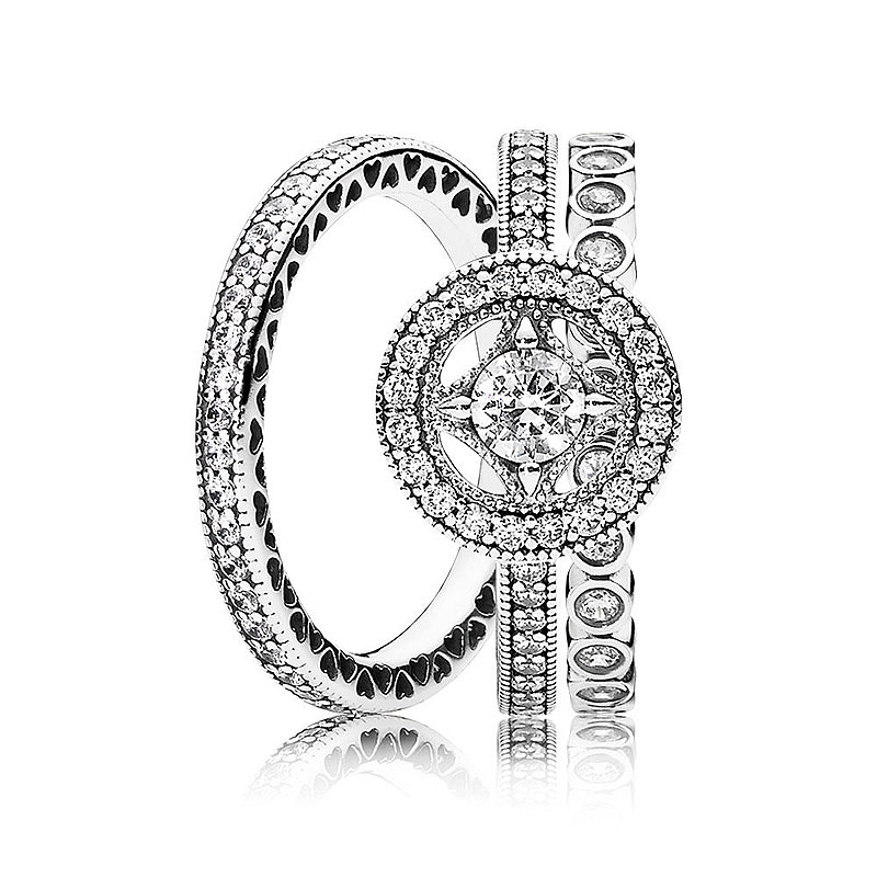 New 925 Sterling Silver Ring Alluring Small Brilliant Vintage Allure Ring Stack For Women Wedding Gift Fine Pandora Jewelry