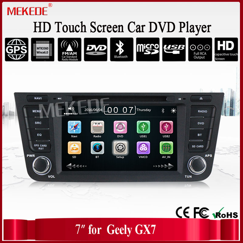 Capacitive Touch Screen GEELY Emgrand GX7 EXY 7 Inch Car DVD With 3G Host Radio GPS RDS BT TV 1080P Ipod Free Maps