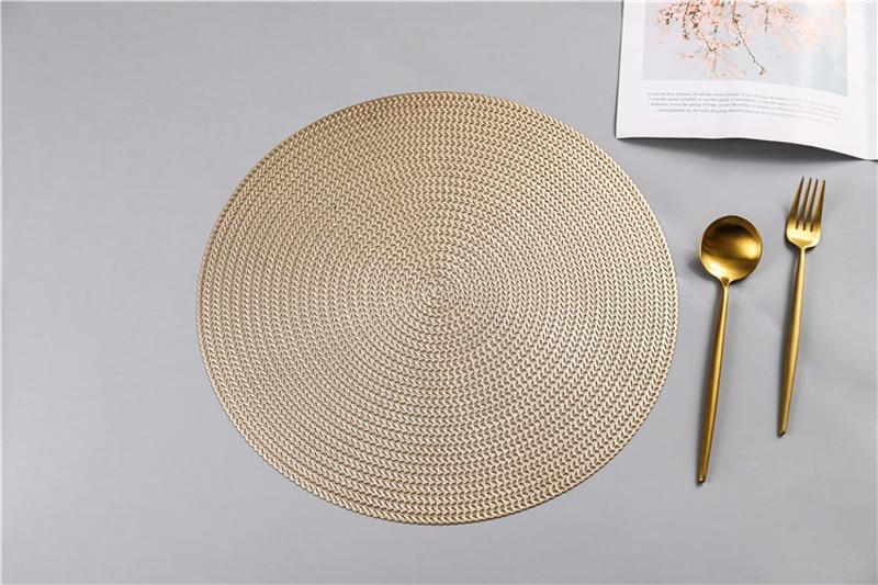 38CM Hotel Restaurant Round PVC Placemat Nordic Anti-scalding Insulation Table Mat Steak Pad (15)