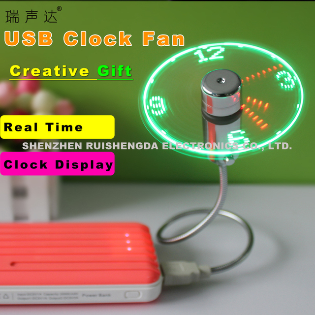 Ruishengda Exclusive Patent USB LED Clock Fan with Real Time Display Function
