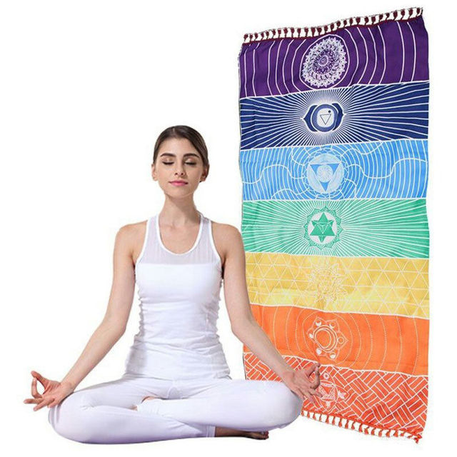 Dropship! Single Rainbow Chakra Tapestry Towel Carpet Mandala Boho Stripes Travel Yoga Mat Outdoor Mats 150x70cm/100x45cm