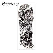 1 Sheet Tattoo Sticker Full Flower Arm Leg Body Art Rose Flower Design Water Transfer Big Large Temporary Tattoo Sticker QB-3011