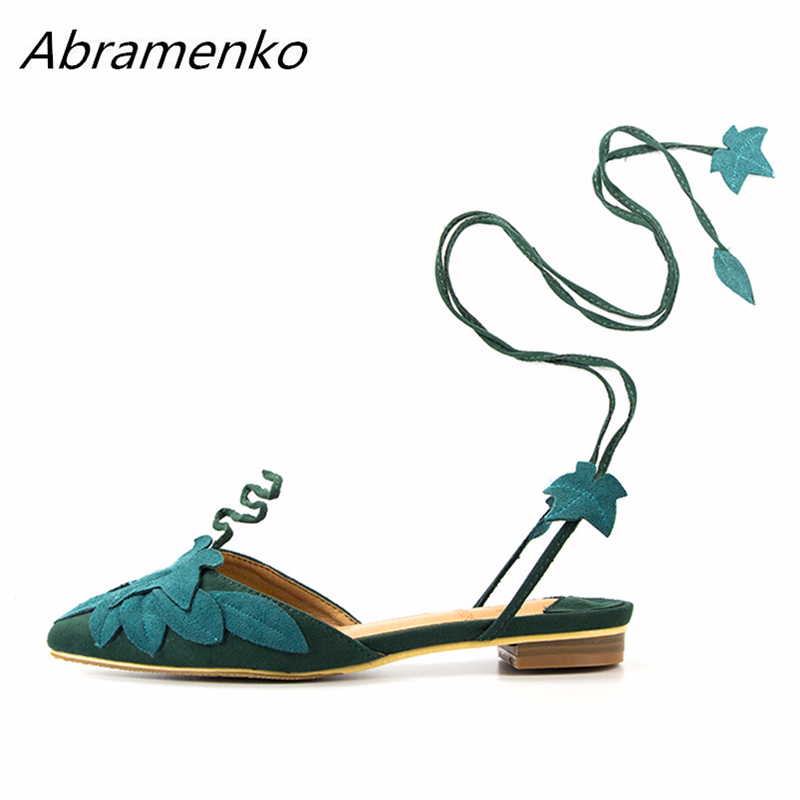Abramenko Gladiator Sandals Bohemia Shoes For Women Green Leaves Decoration Ankle Cross Straps Cut Outs Platform Summer Sandals