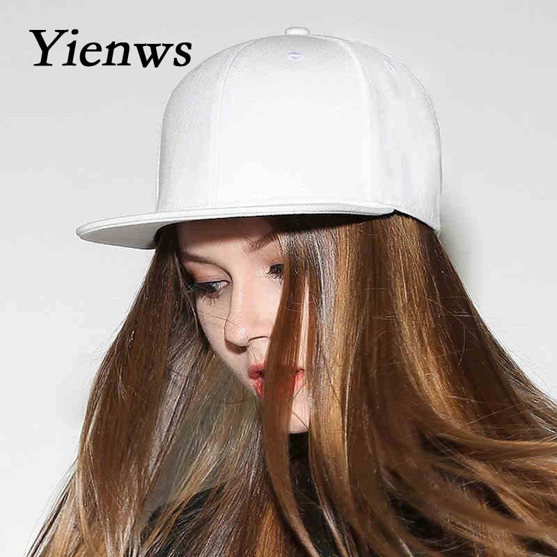 Yienws Flat Brim Hats Women Blank Stylish Baseball Caps for Men Gorras Planas Hip Hop Hats Full Cap Hats Baseball White YIC087 yienws vintage jeans curve brim trucker