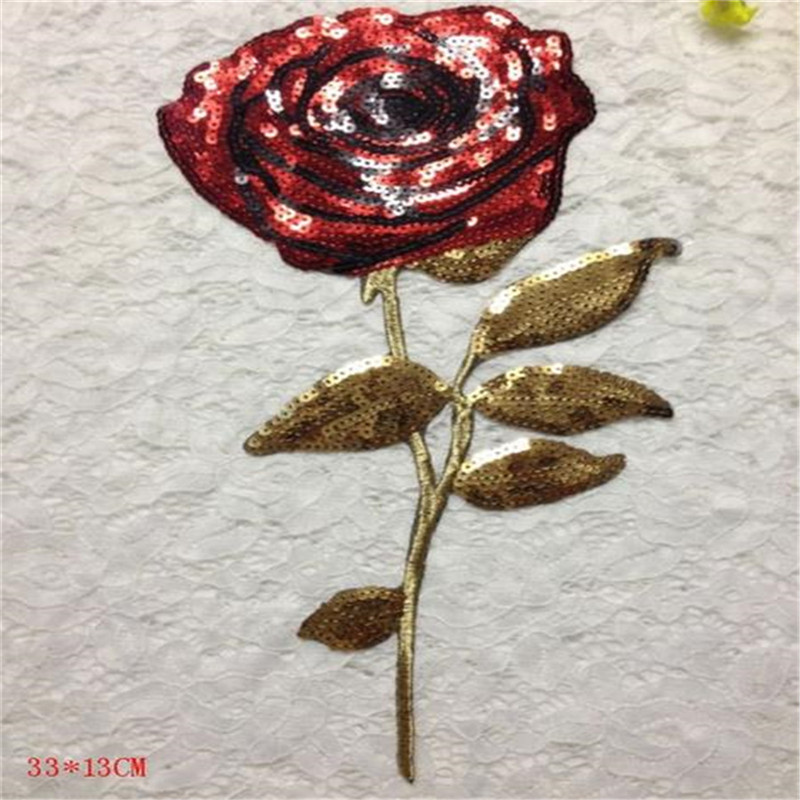 Fashion sequins Icon 31cm red rose iron on patches for clothing embroidery biker patch applique clothes t shirt women stickers