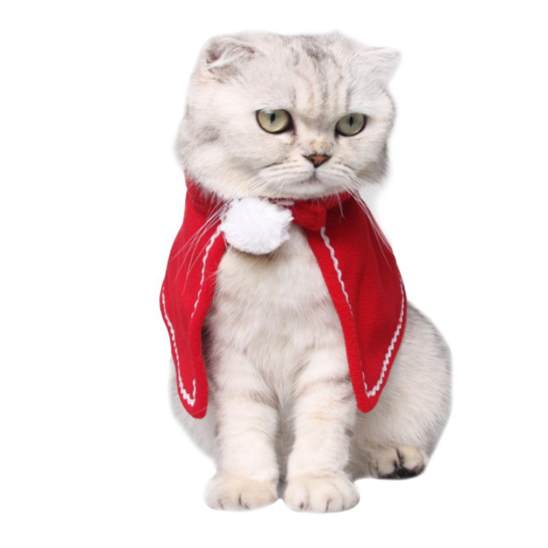 Pet Dog Cat Clothes Mini Skirt Cloak Red Christmas Suit Little Cloak Cat Costumes Layered Set Clothes