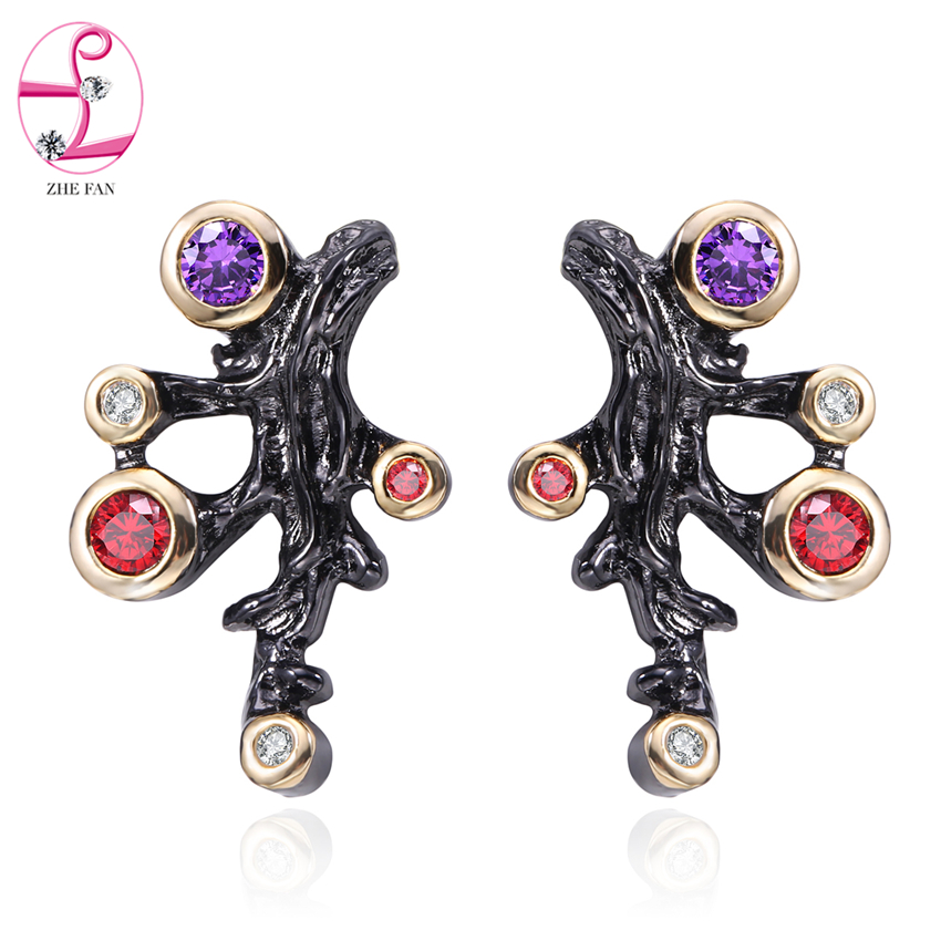 ZHE FAN AAA Zircon Stud Earrings Vintage Two Tone Plating Black Gold Color Ear Studs For Women Engagement Party Gift Jewelry